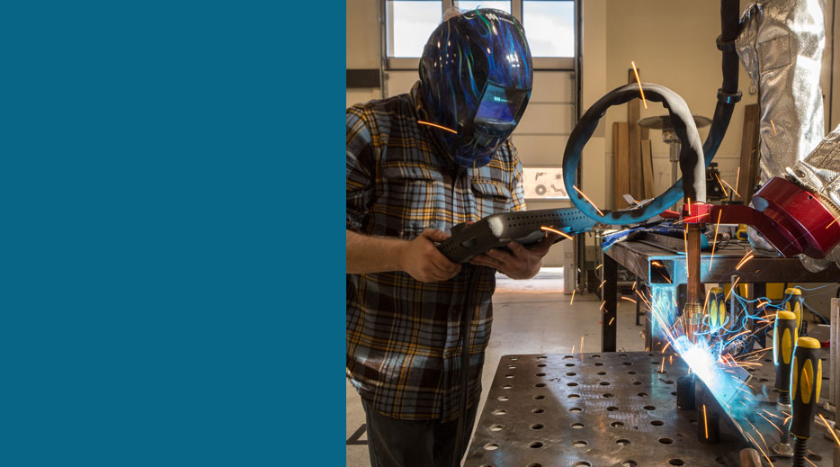Person learning to weld