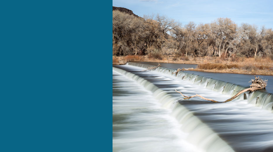 A river spilling down a dam